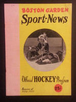 1955 NHL Boston Bruins Game Program vs Rangers January 22 Jan 22 1955 Near-Mint