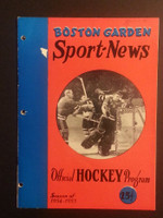 1955 NHL Boston Bruins Game Program Black Hawks March 10 Mar 10 1955 Very Good to Excellent [[3 Hole Punches on left side, contents fine]]