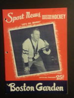 1958 NHL Boston Bruins Game Program vs Rangers October 11 Oct 11 1958 Excellent [[3 Hole Punches on left side, contents fine]]