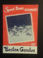 1959 NHL Boston Bruins Game Program vs Black Hawks January 8 Jan 8 1959 Very Good to Excellent [[3 Hole Punches on left side, contents fine]]