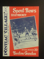 1959 NHL Boston Bruins Game Program vs Maple Leafs November 1 Nov 1 1959 Excellent [[3 Hole Punches on left side, contents fine]]