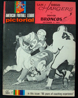 1965 AFL Program Chargers vs Broncos Sep 11 1965 Excellent to Mint