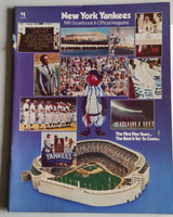 1981 Yankees Program vs Rangers (58 pg) Unscored Apr 9 OPENING DAY Near-Mint [Sl tear on binding, ow very clean, w/orig ticket stub]