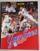 1986 Yankees Program vs Red Sox (74 pg) Scored Sep 12 Nielsen vs Hurst (Bos 7-2, HR Rice, Buckner) Excellent [Lt compact fold, ow clean, w/orig ticket stub]