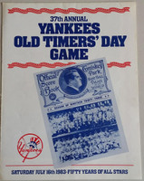 1983 Yankees Old Timer's Day Program/Poster (4 pg) Jul 16 - DiMaggio,  Maris, Ford, Berra, Dickey, Catfish Hunter Near-Mint to Mint