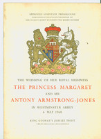 The Royal Wedding of Princess Margaret and Anthon Armstrong-Jones - Official Souvenir Programme (32 pages) (from the Red Schoendienst collection) Excellent [Lt toning on the covers, staining on the reverse cover; contents fine; very scarce]