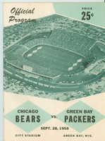 1958 NFL Program Bears vs Packers September 28 (62 pages) (from the Red Schoendienst collection) Sep 21 1958 Excellent [Very small tears on cover, lt wear, ow very clean]