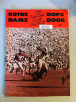 1956 Notre Dame Football Dope Book (48 pages - features, player profiles, stats, photos) (from the Red Schoendienst collection) Excellent [Sl curl along top edge, name sticker on cover; ow clean]