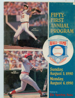 1990 Cooperstown Hall of Fame Induction Program (24 pages) ft:  Jim Palmer, Joe Morgan - Loaded with photos, stats and information about all HOFers Very Good to Excellent [Wear and creasing on cover; contents fine]