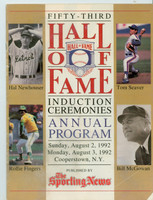 1992 Cooperstown Hall of Fame Induction Program (24 pages) ft:  Tom Seaver, Rollie Fingers plus 2 - Loaded with photos, stats and information about all HOFers Very Good to Excellent [Wear and creasing on cover; contents fine]