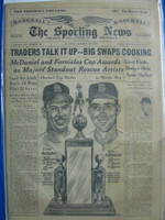 1960 Sporting News October 12 Mike Fornieles, Lindy McDaniel - discoloration on cover, contents fine Good to Very Good