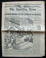 1950 Sporting News February 15 Ty Cobb : Tears along the binding, contents fine Good to Very Good
