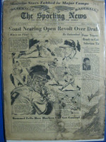1950 Sporting News March 29 Sam Jethroe : heavy cover staining, binding frayed, creases Poor
