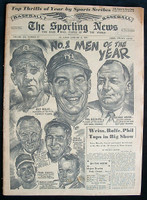 1951 Sporting News January 3 Phil Rizzuto:Red Rolfe:George Weiss Fair to Good [Fraying / sm tears on binding, contents great]