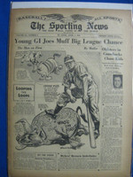 1946 Sporting News Apr 4 Johnny Mize (Cover) : toning on cover, lt wear on binding - contents fine Good to Very Good