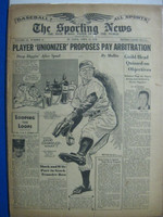 1946 Sporting News Apr 25 Spud Chandler (Cover) : toning on cover, heavy wear on binding - contents fine Fair to Good