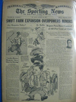1947 Sporting News Mar 26 Durocher / MacPhail / Chandler : toning on cover, lt wear on binding - contents fine Good to Very Good