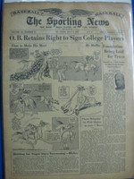 1947 Sporting News Jul 2 Ewell Blackwell : toning on cover, lt wear on binding - contents fine Good to Very Good
