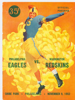 1952 NFL Program Eagles vs Redskins Nov 9 1952 Very Good [Minor pock marking on cover, contents fine]