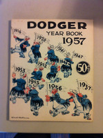 1957 Dodgers Yearbook - Has 2 SMALL CUT OUTS on insignificant pages - ow grades solid ExMt Good Lt wear on cover, 2 pages 39-40 and 41-42 have cutouts (see photos)