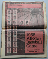 1968 Houston Chronicle All-Star Game Preview Pull-Out (24 pg) w/stars on Cover (from the Red Schoendienst collection)