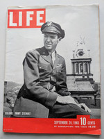 1945 Life Magazine (142 pages) Sep 24 Colonel Jimmy Stewart Excellent [Lt wear on cover, contents fine, overall very clean]