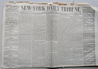 1848 NEW YORK DAILY TRIBUNE Newspaper (4 pages) - Scarce 19th Century Collectible (23 inches by 35 inches) Very Good [Lt fraying on edges, small corner tear ow very good condition for this vintage; want ads are very interesting to read]