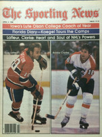 1980 The Sporting News April 5 Bobby Clarke (Flyers) and Guy LaFleur (Canadiens) Excellent