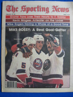 1981 The Sporting News February 28 Mike Bossy (pictured with Potvin and Trottier) Near-Mint