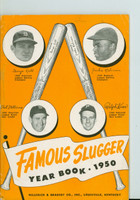 1950 Famous Slugger Yearbook (66 pg) Cover: Ted Williams - Jackie Robinson - Ralph Kiner - George Kell - all 4 HOFers Excellent to Mint [Lt wear on cover, ow clean]