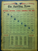 1945 Sporting News March 22 1945 NL Schedule Very Good [Wear all along the binding, fraying on bottom edge; contents fine]