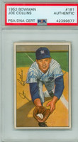 Joe Collins AUTOGRAPH d.89 1952 Bowman #181 Yankees PSA/DNA CARD IS EX