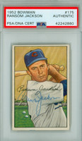 Randy Jackson AUTOGRAPH d.19 1952 Bowman #175 Cubs PSA/DNA CARD IS EX