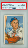 Peanuts Lowrey AUTOGRAPH d.86 1952 Bowman #102 Cardinals PSA/DNA CARD IS CLEAN EX