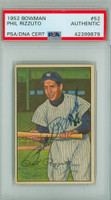 Phil Rizzuto AUTOGRAPH d.07 1952 Bowman #52 Yankees PSA/DNA CARD IS CLEAN EX