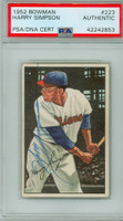 Harry Simpson AUTOGRAPH d.79 1952 Bowman #223 Indians HIGH NUMBER PSA/DNA CARD IS EX