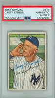 Casey Stengel AUTOGRAPH d.75 1952 Bowman #217 Yankees HIGH NUMBER AUTOGRAPH GRADE 9 PSA/DNA CARD IS EX