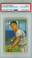 George Strickland AUTOGRAPH d.10 1952 Bowman #207 Pirates PSA/DNA CARD IS EX