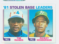 1982 Topps Baseball 164 Stolen Base Leaders Near-Mint to Mint