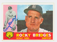 Rocky Bridges AUTOGRAPH d.15 1960 Topps #22 Tigers CARD IS VG; AUTO CLEAN