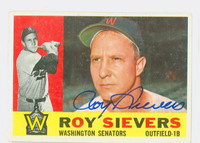 Roy Sievers AUTOGRAPH d.17 1960 Topps #25 Senators CARD IS CLEAN VG