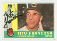 Tito Francona AUTOGRAPH d.18 1960 Topps #30 Indians CARD IS VG; SL BEND