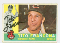 Tito Francona AUTOGRAPH d.18 1960 Topps #30 Indians CARD IS VG; AUTO CLEAN