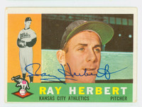 Ray Herbert AUTOGRAPH 1960 Topps #252 Athletics CARD IS VG; AUTO CLEAN  [SKU:HerbR408_T60BBLX]