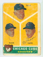 Elvin Tappe AUTOGRAPH d.98 1960 Topps Chicago Cubs Coaches #457 CARD IS F/P; CREASES [SKU:TappE2969_T60BBC1cc]