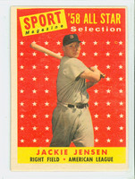 1958 Topps Baseball 489 Jackie Jensen AS Boston Red Sox Very Good