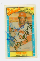 Ken Griffey AUTOGRAPH 1970s Kelloggs Reds CARD IS CLEAN EX