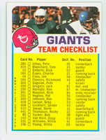 1973 Topps Football New York Giants Team Checklist Excellent
