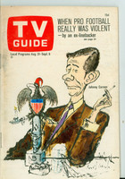 1968 TV Guide Aug 31 Johnny Carson Central California edition Very Good to Excellent - No Mailing Label  [Toning on cover along binding; ow clean]