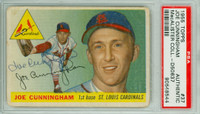 Joe Cunningham AUTOGRAPH 1955 Topps #37 Cardinals PSA/DNA CARD IS G/VG; RND CRNS, HEAVY BACK DAMAGE